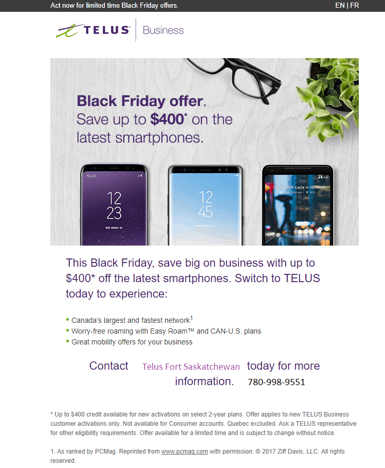Black Friday Save on Business 780-998-9551