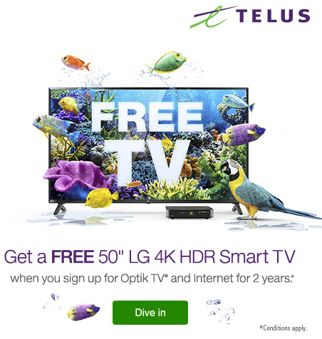 Want a Free 4K HDR TV_ - Telus Cambridge Electronics Inc Cornerstone Mall Fort Saskatchewan