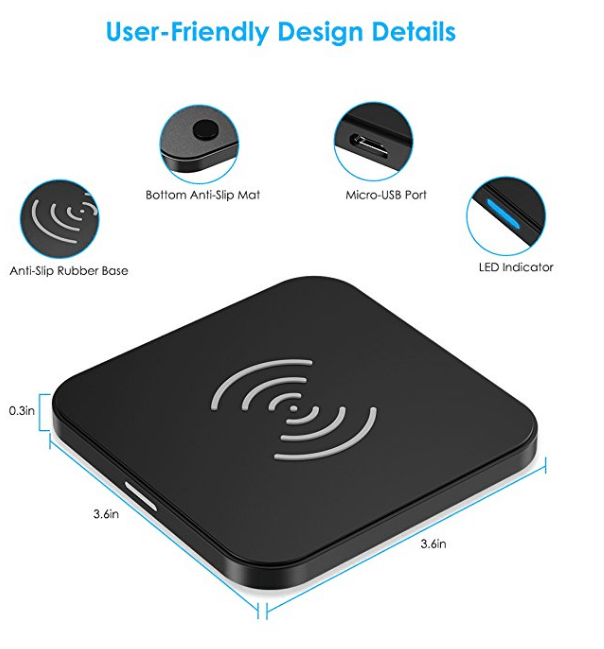 CHOETECH Wireless Charger, Qi Certified T511 Wireless Charging Pad with Anti-Sli